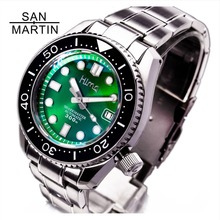 San Martin для мужчин Автоматический Diver часы нержавеющая сталь часы 300 м водостойкий SBDX001 керамика ободок модные часы световой
