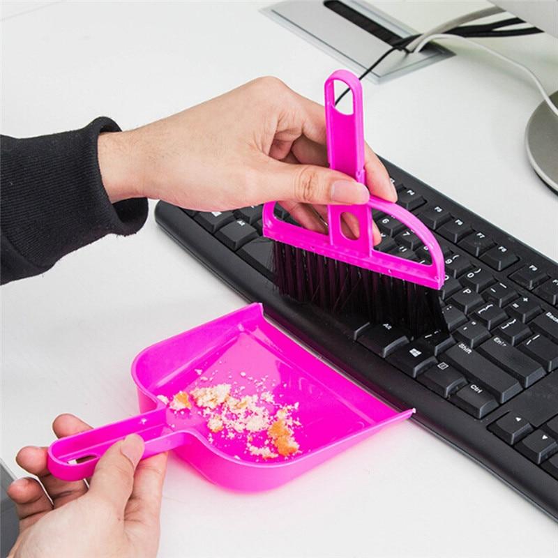 Mini Cleaning Brooms Whisk Dust Pan Table Keyboard Notebook Practical Dustpan Brush Set Random Color