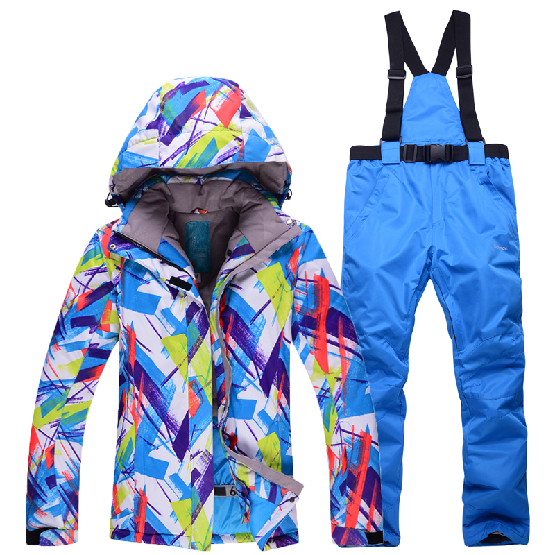 New Colorful woman outdoor skiing suit sets snowboarding clothes waterproof winter Snow Suit jackets +bibs pants ski Costumes