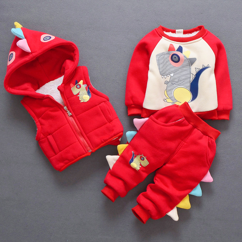 Lovely Dinosaur Children Clothing Sets Autumn Winter Girls Clothes Hoodies+Pants Christmas Outfit Kids Boys Clothes Suit Z421 2016 boys girls autumn winter clothes sets kids sport clothing outfit children hoodies pants cotton