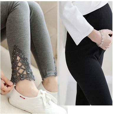Embroidery Hollow Elastic Maternity Leggings  Spring Maternity Clothes Pants For Pregnant Women Pencil Trousers Sh S In Leggings From Mother Kids