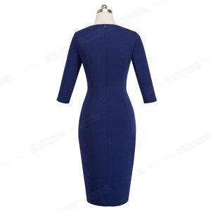 Image 4 - Ładny na zawsze elegancki Vintage jednolity kolor podział nosić do pracy z paskiem vestidos Business Party Bodycon kobiety sukienka biurowa B464