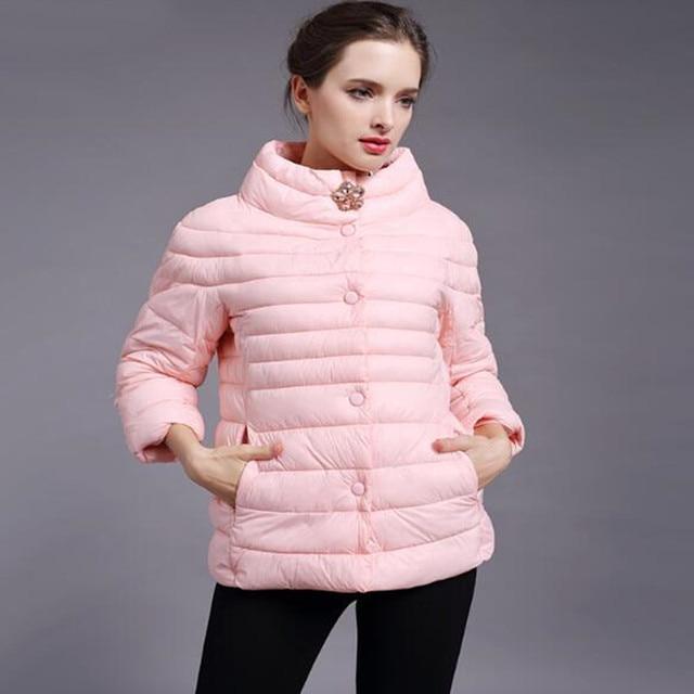 אביב מעיל מעיל חורף מעיל נשים חדש אופנה נשים מוצק צבע גבוה צווארון כותנה מרופדת כותנה מעיל מעיל הלבשה עליונה