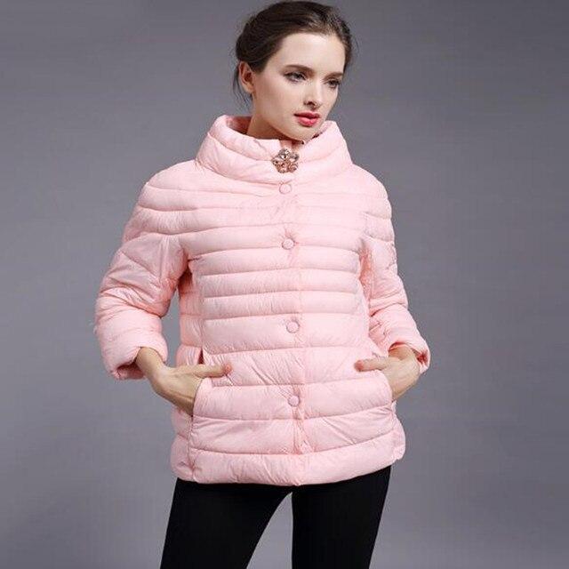Mùa xuân Áo Khoác Áo Khoác mùa đông áo khoác phụ nữ Mới thời trang phụ nữ của rắn màu cao cổ bông áo độn Bông áo khoác áo khoác ngoài