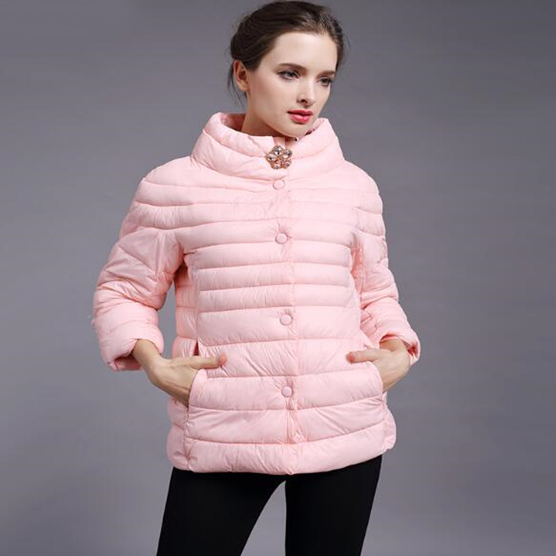 spring autumn warm winter jacket women New fashion women's solid color high-necked cotton-padded Cotton coat jacket outerwear