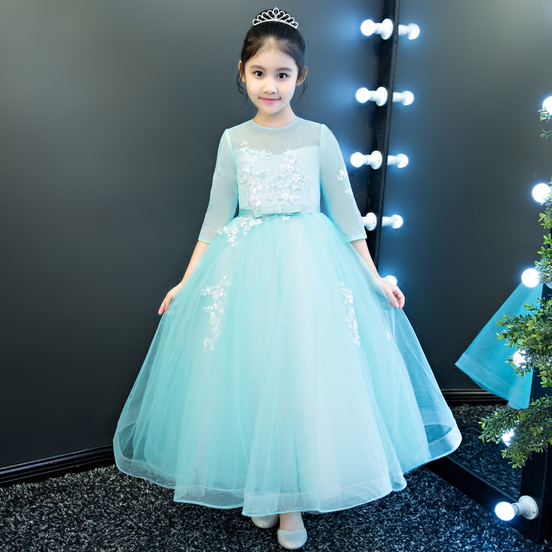 2018 Spring New Children Girls Elegant Fashion Green Princess Lace Flowers Dress For Birthday Evening Party Kids Pageant Dress