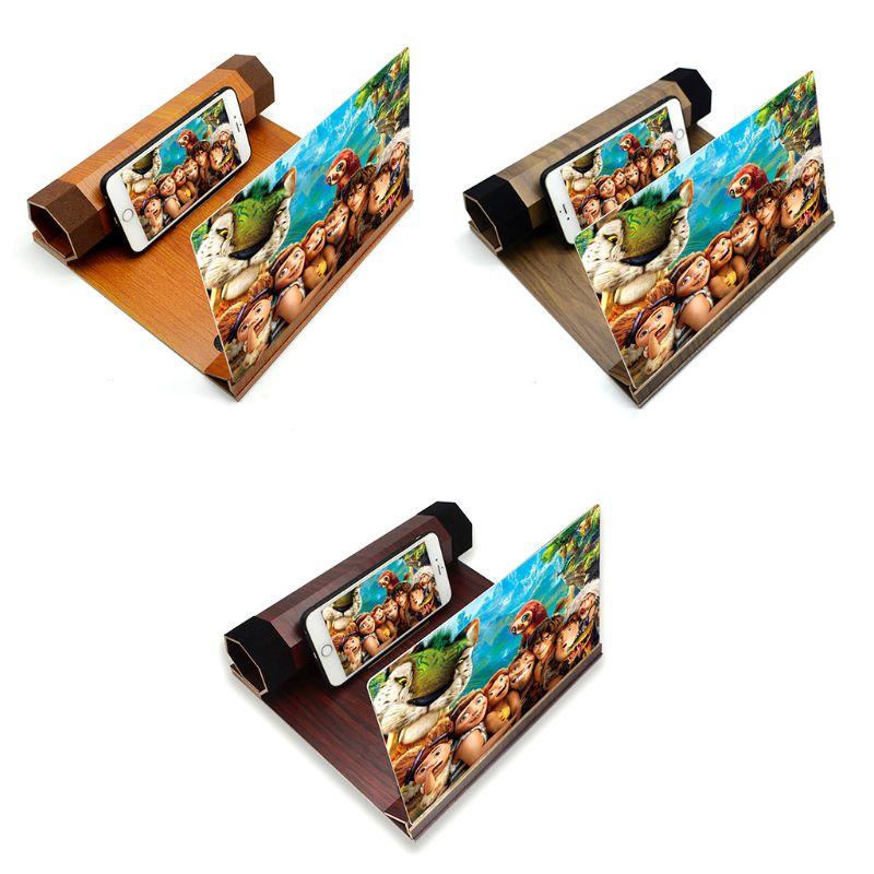 Klapp Desktop 12 Zoll Handy Halter Stand Bildschirm Lupe 3d Hd Video Verstärker Holzmaserung Halterung Für Alle Smartphones 100% Garantie Unterhaltungselektronik