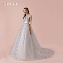 I DUI Bridal Smoke Grey Wedding Dress A line Pleated