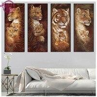 4pc Animal Diamond Embroidery 5D DIY Diamond Painting Christmas Tigers And Giraffes Cross Stitch Full Square