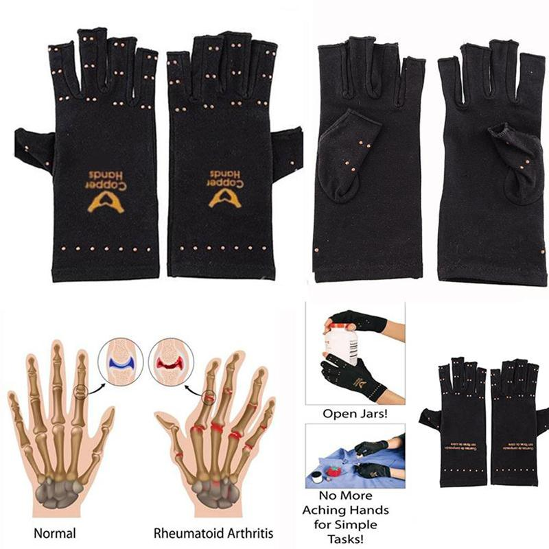 Giantree New Magic Therapy Fingerless Gloves Soft Magnetic Arthritis Knuckles Gloves Pain Relief Therapeutic Compression Black