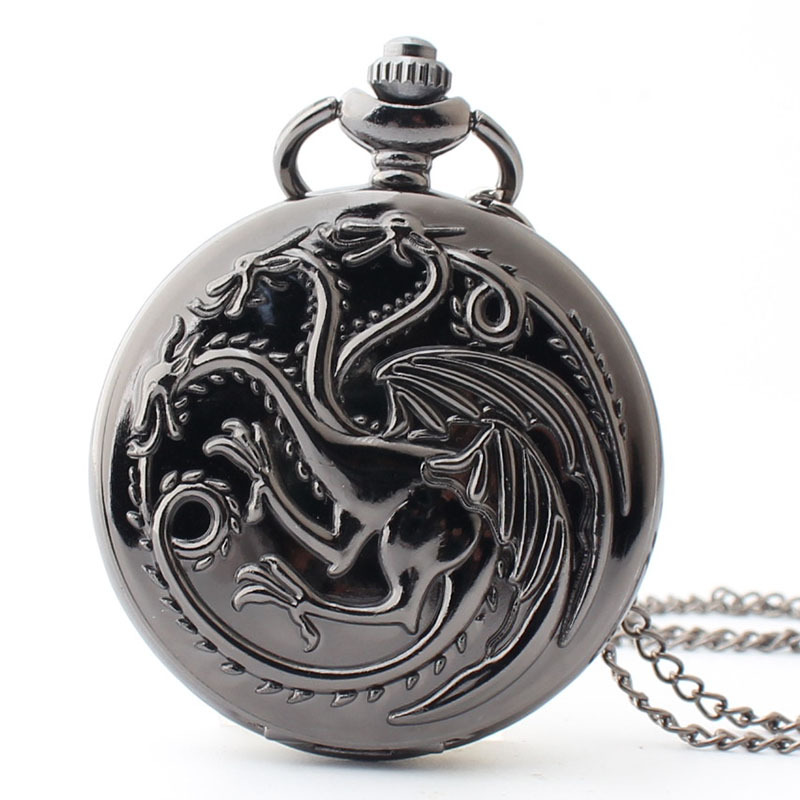 Hollow Pocket FOB Watches Men Women Gift With Chain Free Shipping High Quality Thrones Game Pendant Necklace Watch