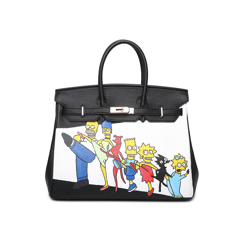 Personality women handbags PU leather Hand-painted cartoon characters tote bags Large capacity shark pattern women bags 2017 NEW 2016 new cute smile cartoon eyes graffiti pu leather yellow handbags women s luxury bags hand painted punk painting women totes