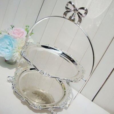 Soporte de pastel de boda europeo doble plata disco plateado té de la tarde plato de corazón pastelería sala de estar muebles artículos - 4