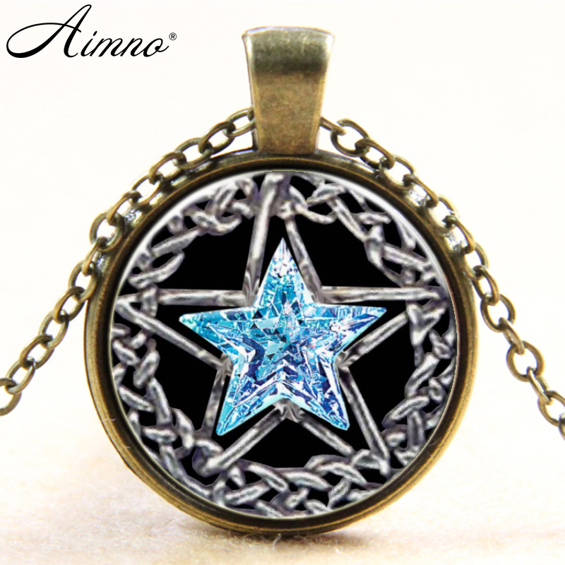 Silver plated necklaces Pentacle Star pattern glass ...
