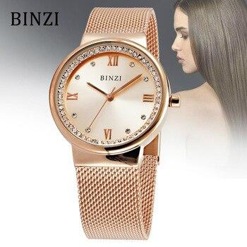 Women Watch BINZI Brand Watch Women Gold Fashion Dress Quartz Watch Lady Rhinestone Casual Bracelet Wristwatch Relogio Feminino Наручные часы