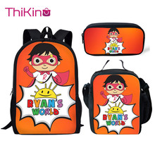 Thikin Casual Ryans World Cute Print School Bags 3pcs/set for Teen Girls Backpack Cartoon Pattern Bookbag Lovely Satchel