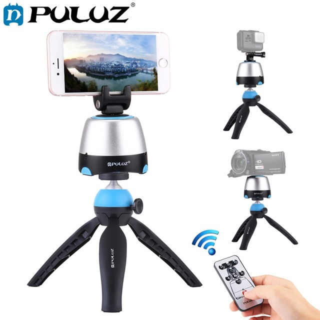PULUZ Electronic 360 Degree Rotation Panoramic Head with Remote Controller &Tripod Mount &Phone Clamp for Smartphones,GoPro,DSLR