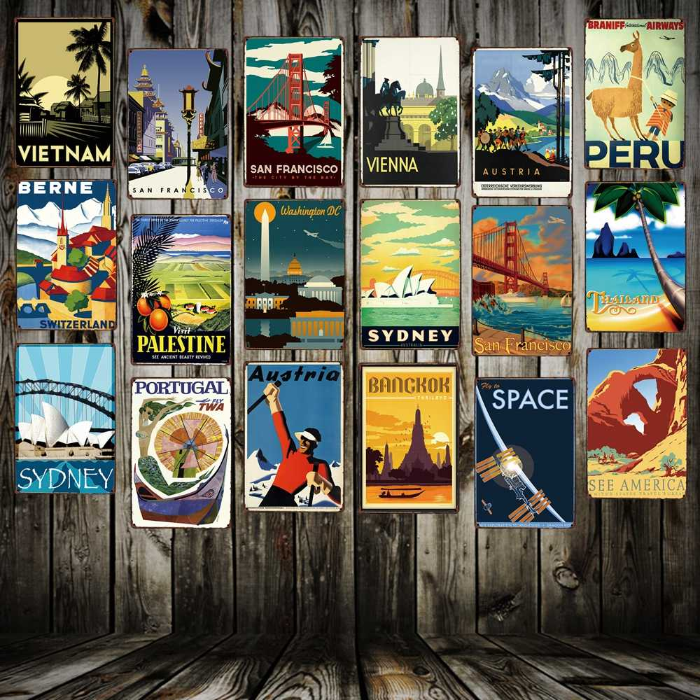 [ Mike86 ] VINTAGE TRAVEL Metal Signs Popular Countries Cities Retro Wall Art Painting Posters FG-215