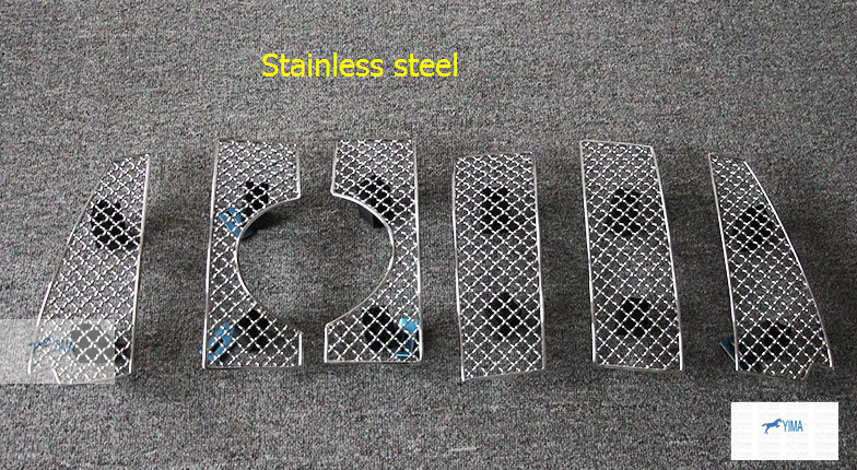 ФОТО For Toyota Prado FJ150 2014 2015 2016 Stainless Steel Front Grille Racing Grills Mesh Cover Trims 6 pcs / set