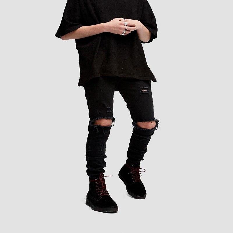 kanye west represent mens european clothing slp men light black Hole zipper   jeans   star destroyed ripped skinny distressed   jeans