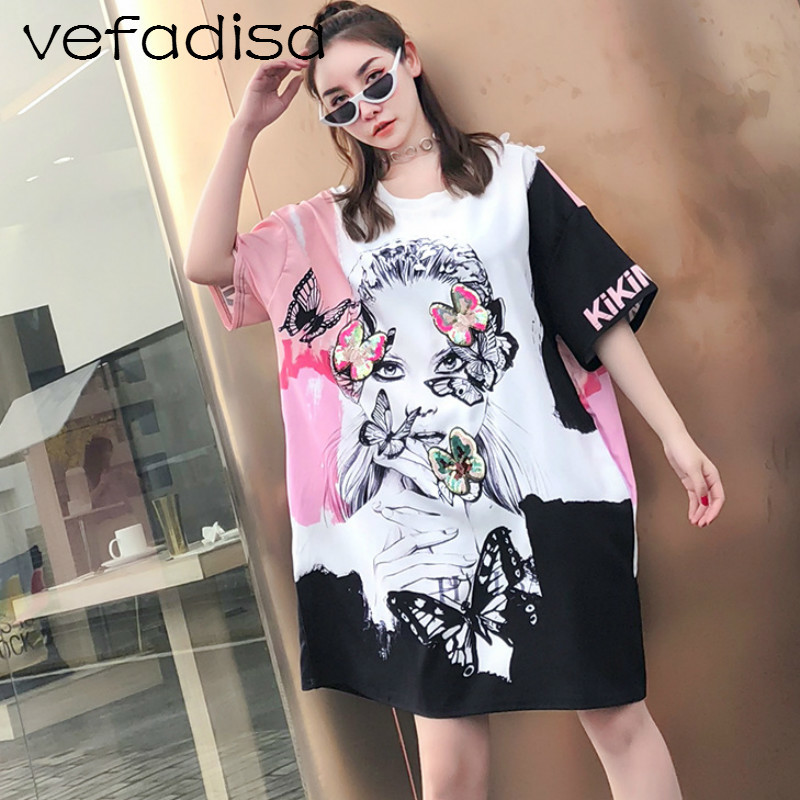 Vefadisa 2018 Design Summer Women Print Character Pattern Dress Short Sleeve Dress Letter Sequins Butterfly Animal Dress AD1359 Платье