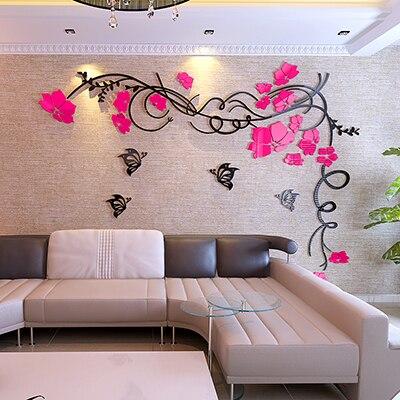Beautiful Flower vine 3D wall stickers TV backdrop Living room Art decor TV Sofa wall Acrylic DIY Wall Stickers