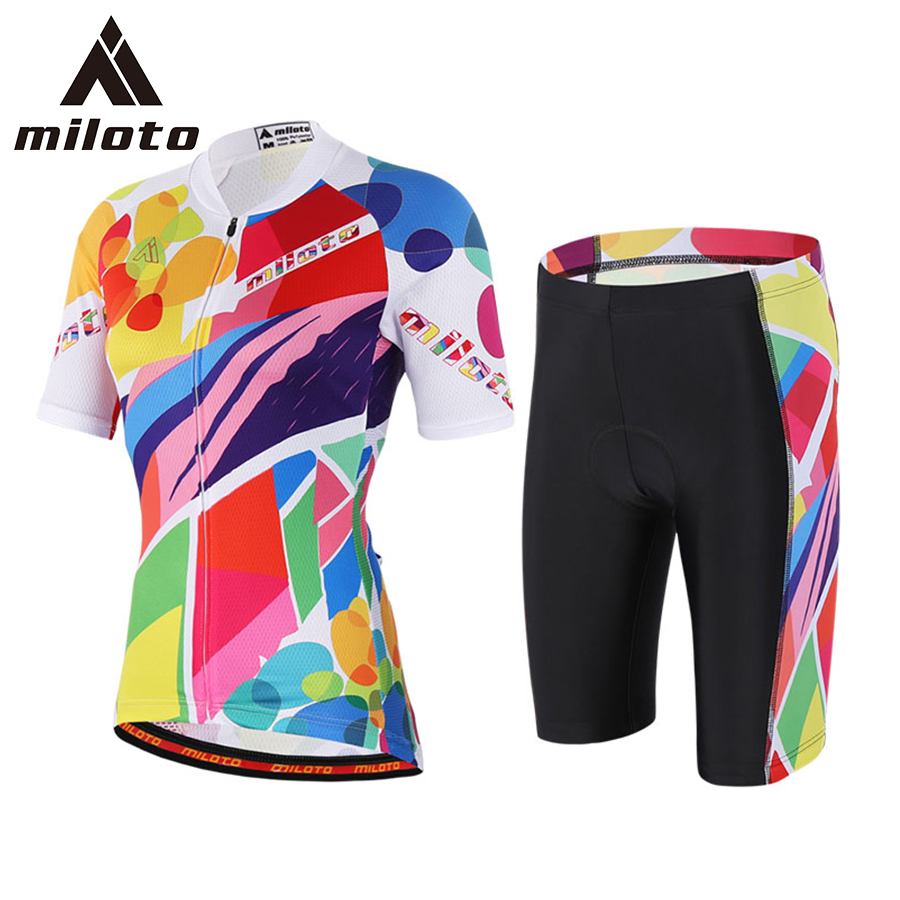 ФОТО 2017 Women Colorful Cycling Sets Bike Clothing Breathable Quick Dry Bicycle Sport Wear Short Sleeves Cycling Jersey Kits Gel Pad