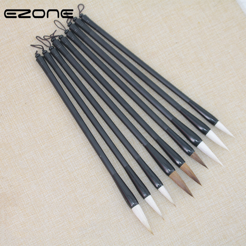 EZONE Woolen Wolf Hair Calligraphy Brush Chinese Writing Paint Brush Artist Drawing Watercolor Painting Brushes School Supplies