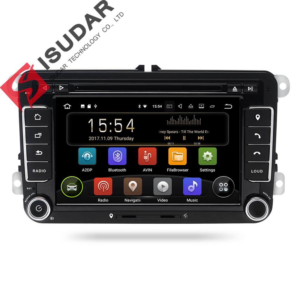 Isudar Auto Multimedia player Android 8.1 GPS 2 Din Für VW/Golf/Tiguan/Skoda/Fabia/Schnelle /sitz/Leon/Skoda canbus dvd automotivo fm