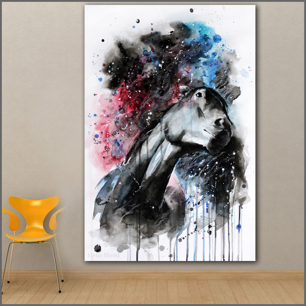 Large size Printing 4 Horse ink painting Wall Art Picture ...
