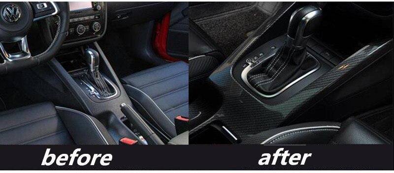 1 шт. карбоновое волокно ABS материал панель передач и питьевой стекло украшение крышка для 2006 2016 Volkswagen VW JETTA GOLG5 MK5 ESO - 3