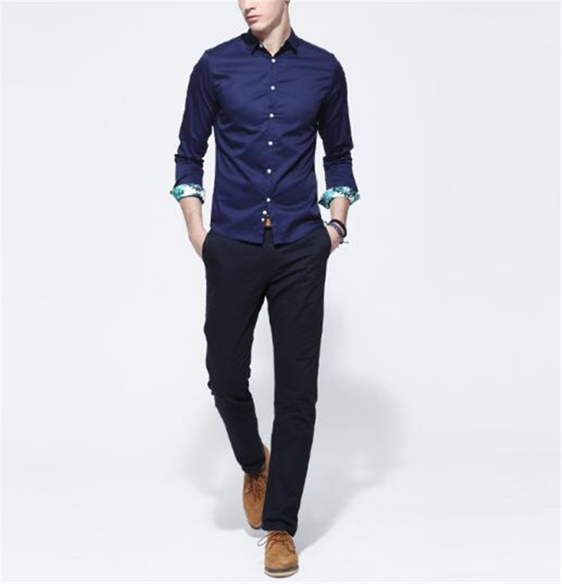 New Arrival man's shirt fashion dark blue long sleeve shirts slim ...