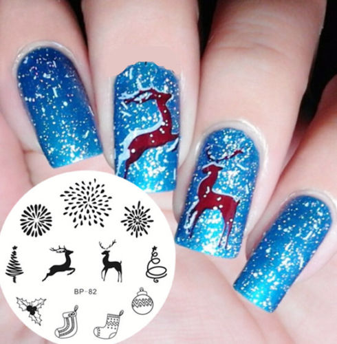 Newly Born Pretty Bp82 Christmas Deer Socks Theme Nail Art Stamping