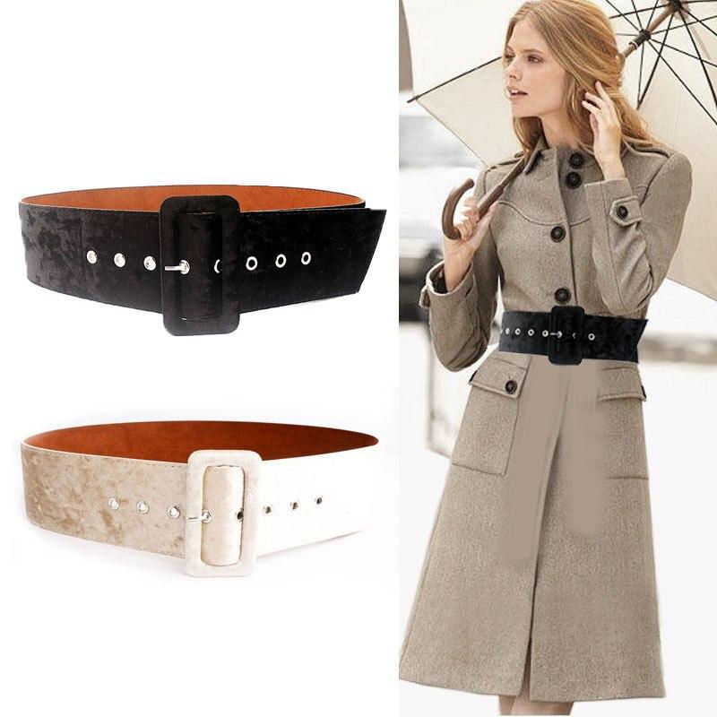 OLOME New Design 7cm Wide Belts Female Coat Dress Black Red Suede Velvet Leather Women Waist Belt Grommet Waistband