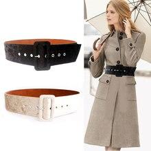 OLOME New Design 7cm Wide Belts Female Coat Dress Black Red Suede Velvet Leather