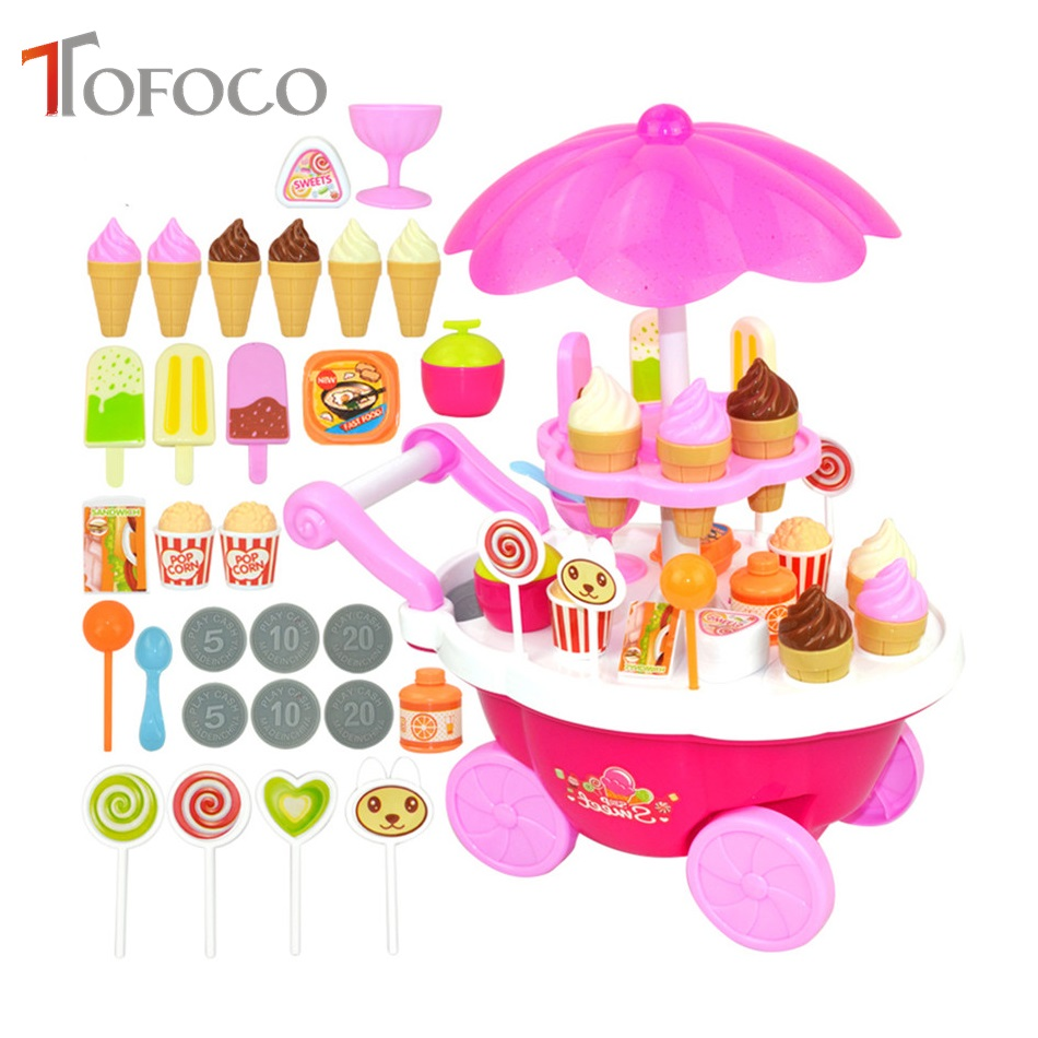 Super Cute Candy Ice Cream Car Flash Light Food Cake Cart Toys Kits Cartoon Food Toy Sets for Boys and Girls Pink/ Yellow Choose ice cream cart toy