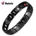 Rainso pulseira de energia saúde pulseira de aço inoxidável marca de moda preto para os homens 4 em 1 bio pulseiras magnéticas link osb-1540bk