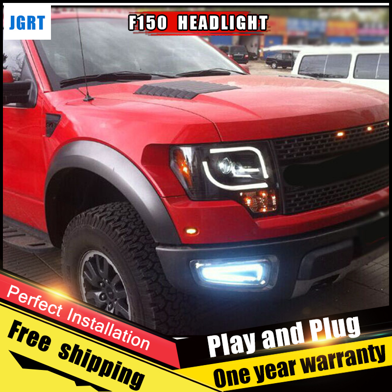 2PCS Car Style LED headlights for Ford raptor 11-14 for raptor head lamp LED DRL Lens Double Beam H7 HID Xenon bi xenon lens