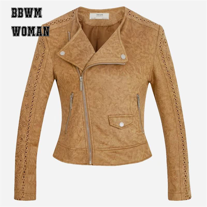 Hollow Design Brown Grey Yellow Color Leather Motorcycle Jacket Women Suede Leather Jacket Long Sleeve Short Outwear ZO782
