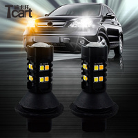 Tcart 2pcs Auto Led 3030 Dual Color Switchback BAY15D 1157 DRL LED White Daytime Running Light Turn Signal Bulbs External Lamps