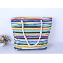2016 Fashion Multicolor Casual Stripe Canvas handbag Women Sac a Main Brand Design Fashion Ladies sigle or double Shoulder Tote