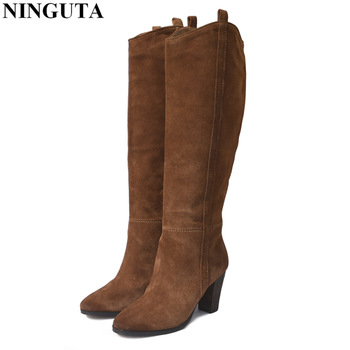 fashion women boots embroidery star suede knee high boots ladies square med heels chaussure femme ladies shoes spring style Genuine Leather suede boots women high heel for autumn knee high boots ladies shoes woman 36-42