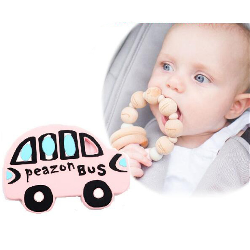 Hot Sale Portable Silicone Baby Teether Teething Stick Soft Chewable Silicone Bus Car Pendant Baby Teething Toys image