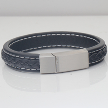 Men Jewelry Punk Black Braided Geunine Leather Bracelet Stainless Steel Magnetic Buckle Fashion Bangles