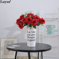 Luyue Official Store Luyue 12 Head Artificial Rose Silk Flower Arrangement Fake Bouquet For Wedding Home