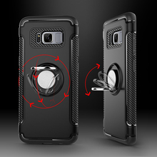 Case for OPPO R9 R9S plus Magnetic Suction Car Holder Luxury Hard Armor Ring Holder Silicone phone Back cover