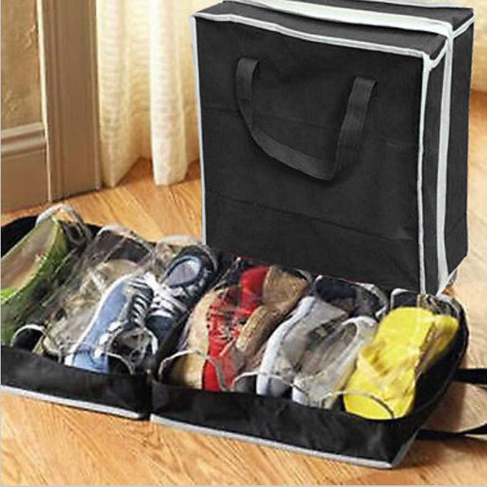 6 Grid Dustproof Shoes Organizer PVC Folding Shoes Storage For  Travel or home wardrobe storage bag organizador closet