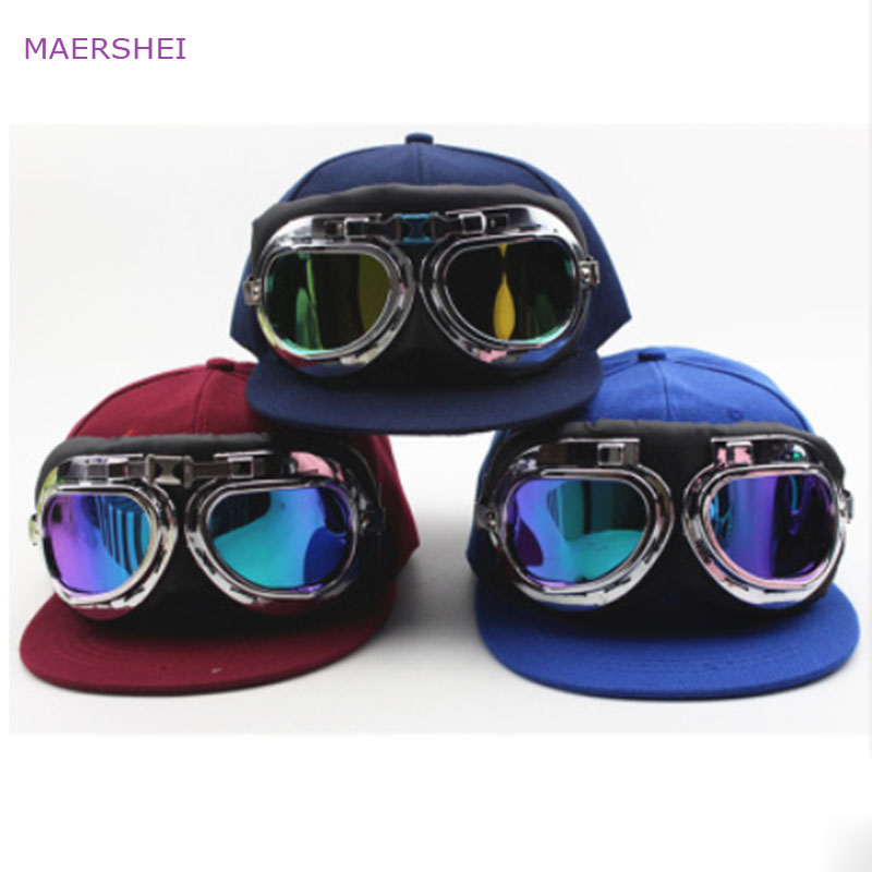 MAERSHEI Child pilot glasses   baseball     cap   sanpback Europe and America Non-mainstream boys and girls hip hop   cap