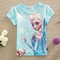 2016 nuevos Bebés del Verano Tops Niños Camisetas Chicas Camisetas Elsa Manga Corta Camisetas Desgaste de Los Niños Niñas Ropa Camisa de Color Rosa