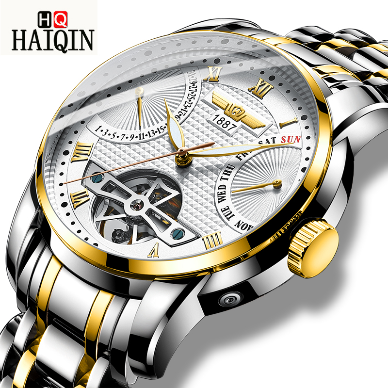 HAIQIN Automatic Mechanical Watch Business/Waterproof/Stainless Steel Mens Watches Top Luxury Wristwatch Male relogio masculinoHAIQIN Automatic Mechanical Watch Business/Waterproof/Stainless Steel Mens Watches Top Luxury Wristwatch Male relogio masculino